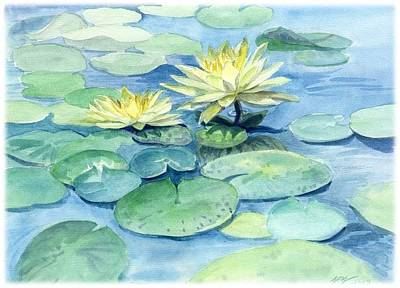 Painting - Water Lily At Bjcih Plaza by Ping Yan