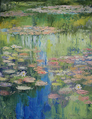 Waterlily Painting - Water Lily Pond by Michael Creese