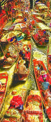 Thai Painting - Water Market by Mo T