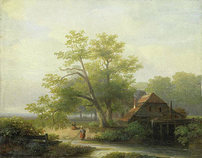 Water Mill Drawing - Water Mill In A Wooded Landscape, Lodewijk Hendrik Arends by Litz Collection