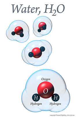 Digital Art - Water Molecules Poster by Russell Kightley