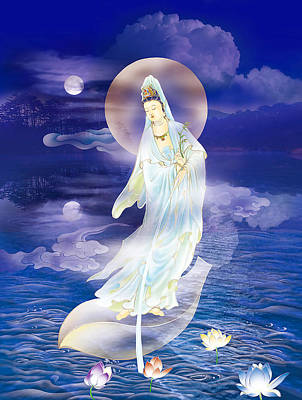 Water Moon Avalokitesvara  Art Print by Lanjee Chee