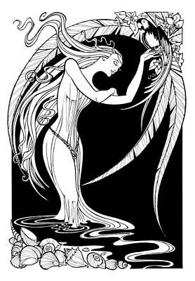Drawing - Water Nymph by Steven Stines