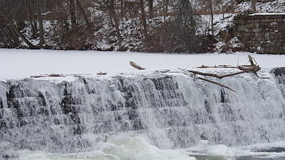 Splashing Etc Photograph - Water Over The Frozen Dam by Rob Luzier