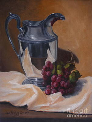 Old Pitcher Painting - Water Pitcher With Fruit by Lisa Phillips Owens