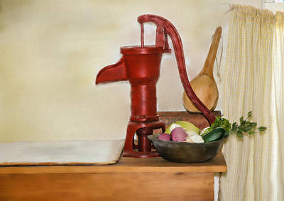 Onion Mixed Media - Water Pump by Mary Timman