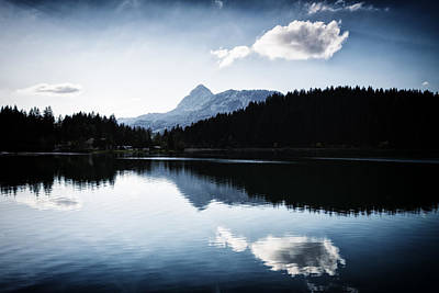 Serene Photograph - Water Reflection Blue Black And White by Matthias Hauser