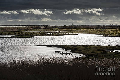 Water Reflection Storm Clouds At Farlington Marshes Wetlands Art Print