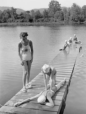 Cross-cap Photograph - Water Safety At Camp Perkins by Underwood Archives