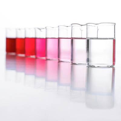 Water Samples Coloured With Beetroot Art Print by Science Photo Library