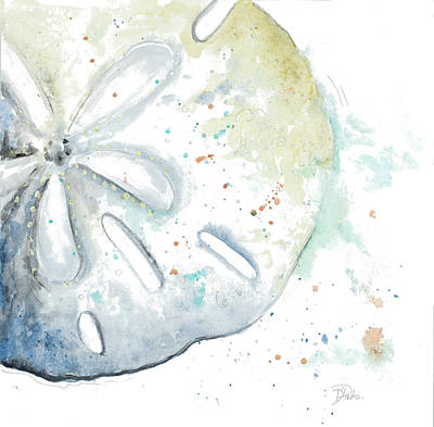 Coastal Painting - Water Sand Dollar by Patricia Pinto
