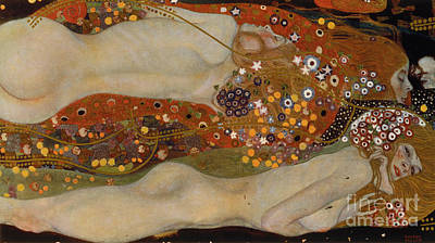 Female Bust Painting - Water Serpents II by Gustav Klimt