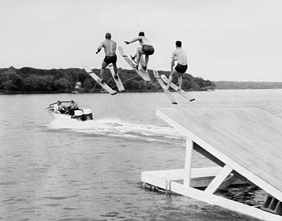 Water Ski Show Jumpers Art Print by Underwood Archives