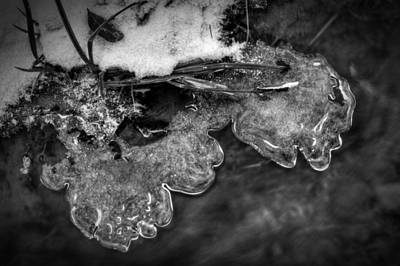 Winter Photograph - Water Snow And Ice Along The Creek In Black And White by Greg Mimbs