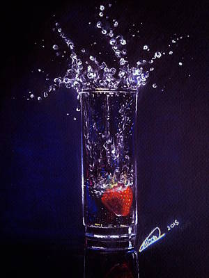 Painting - Water Splash Reflection by Alban Dizdari
