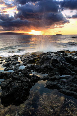 Water Splashing Onto The Lava Rock Art Print by Scott Mead