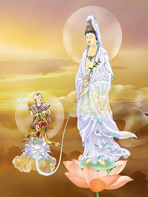 Water-sprinkling Kuan Yin Print by Lanjee Chee