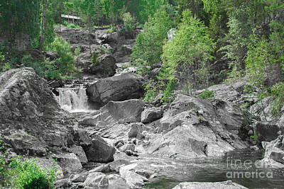 Abstract Airplane Art - Water stream with rocks by Amanda Mohler