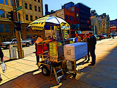 Hot Dogs Digital Art - Water Street Vendor by Geoff Strehlow