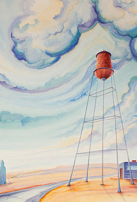 High Plains Painting - Water Tank I by Scott Kirby