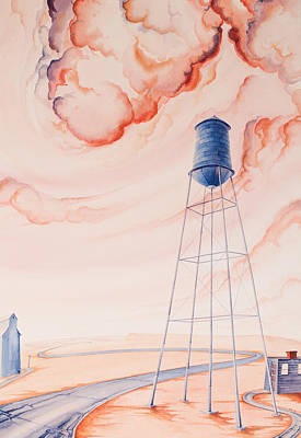 High Plains Painting - Water Tank II by Scott Kirby
