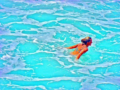 Water Textures. Art On Canary Islands. Atlantic Ocean. Tenerife. Playa De Las Americas. Wave.  Ebb A Art Print