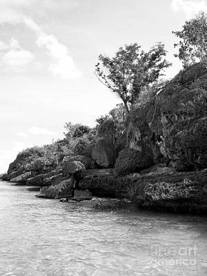 Photograph - Water To Rock Vertical Black And White by Heather Kirk