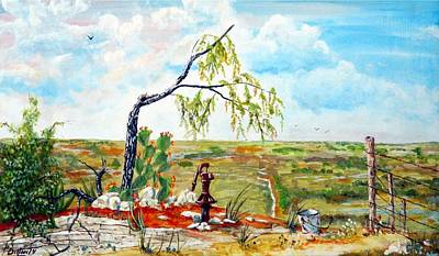 Pear Tree Painting - Southwest Texas Water Tree by Michael Dillon