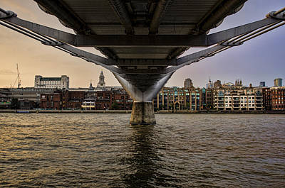 St Pauls London Photograph - Water Under The Bridge by Heather Applegate