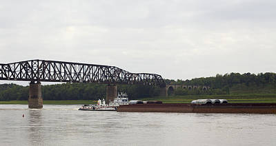 Photograph - Water Under The Bridge - Towboat On The Mississippi by Jane Eleanor Nicholas