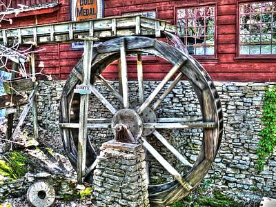 Antique Photograph - Water Wheel On Mill V2 by John Straton