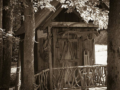 Photograph - Water Wheel Shed I Sepia by Robert J Andler