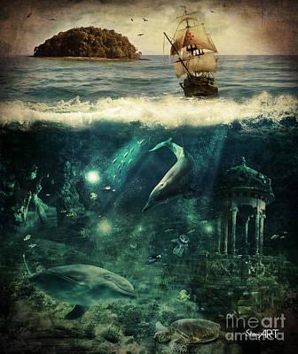 Swallow Digital Art - Water World by Donika Nikova