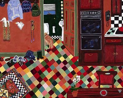 Checkerboard Floor Painting - Waterbowl by Fay Sciarra