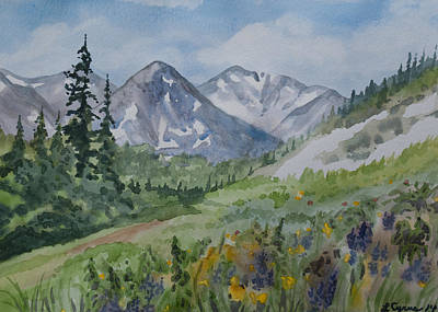Original Watercolor - Colorado Mountains And Flowers Art Print