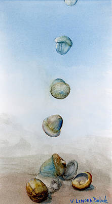 Art Print featuring the painting Watercolor Acorn Falls by Lenora  De Lude