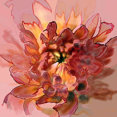 Mums Painting - Watercolor And Ink Drawing Of Red And Orange Mum by Elaine Plesser