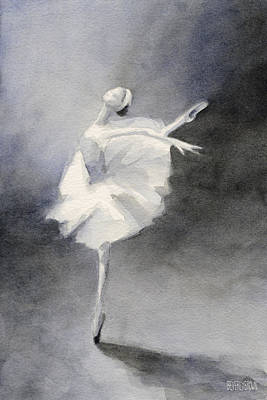 Grey Painting - Watercolor Ballerina Painting by Beverly Brown