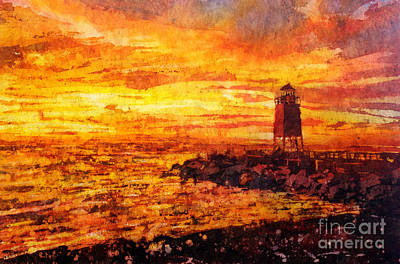 Painting - Watercolor Batik Of Charlevoix Lighthouse At Sunset by Ryan Fox