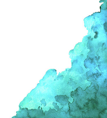 Digital Art - Watercolor Blue Green Grunge Paint Stain by Color brush