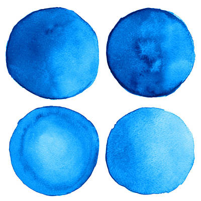 Digital Art - Watercolor Blue Grunge Circle by Color brush