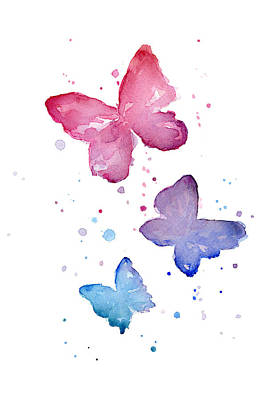 Pink Painting - Watercolor Butterflies by Olga Shvartsur