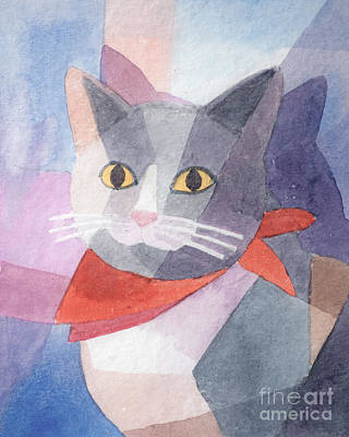 Cat Artwork Painting - Watercolor Cat by Lutz Baar
