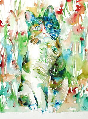 Painting - Watercolor Cat.2 by Fabrizio Cassetta