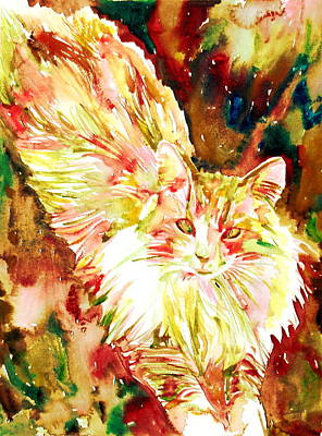 Painting - Watercolor Cat.3 by Fabrizio Cassetta