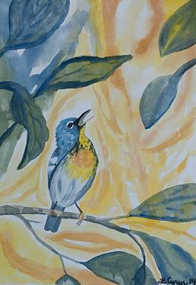 Watercolor - Northern Parula In Song Original by Cascade Colors