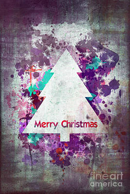 Christmas Cards Digital Art - Watercolor Christmas Tree Card by Delphimages Photo Creations