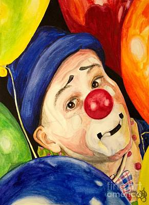 Clown Art Painting - Watercolor Clown #5 Sean Carlock by Patty Vicknair