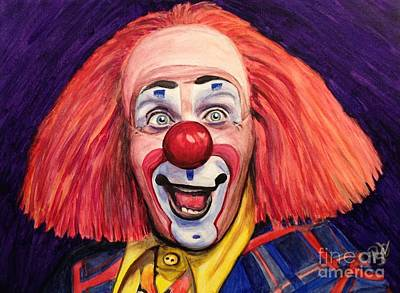 Clown Art Painting - Watercolor Clown #6 Ron Toto Johnson by Patty Vicknair