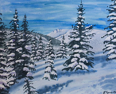 Painting - Watercolor - Colorado Winter Landscape by Cascade Colors